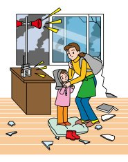 Earthquake. Evacuation. Parent and child. Preparation