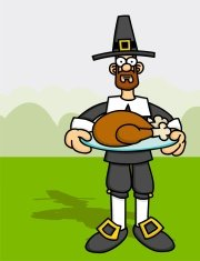 Pilgrim with Cooked Turkey