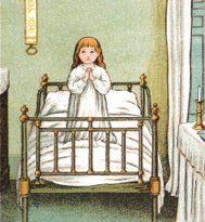 Little girl praying on her bed