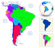 Vector World Map Geography of South America