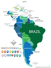 political south america map with gps icons