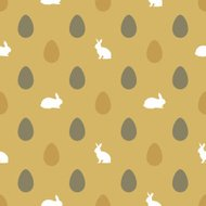 Happy Easter background with eggs and rabbits