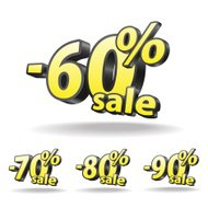 Sixty, Seventy, eighty, ninety percent discount icon on white ba