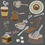 vector illustration of different elements of coffee