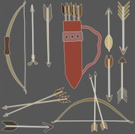 vector illustration of different bows and arrows
