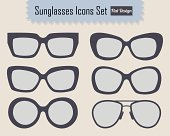 Modern stylish sunglasses icons set