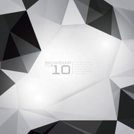 Black and white polygon background.