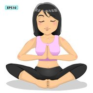 woman practicing yoga in the salutation seal position, vector