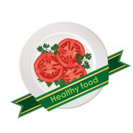 Tomato on plate label. vegetable icon. Healthy food sign.