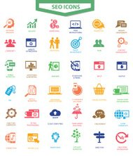 SEO (Search Engine Optimization)icons, Colorful version