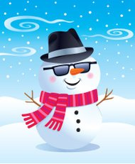 Cool Snowman In Fedora and Sunglasses