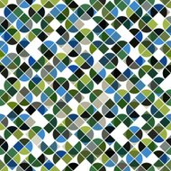 Abstract mosaic retro seamless pattern in green and blue colors.