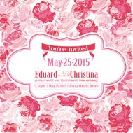Wedding Invitation Card - with Floral Background