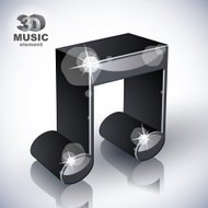 Funky musical note 3d modern style icon isolated.