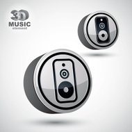 Audio speaker 3d vector round icon isolated.