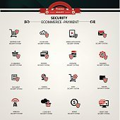 E-Commerce,Payment,Security icons,clean vector