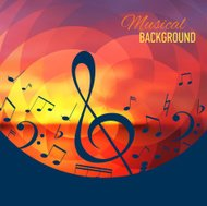 Geometrical background with music notes and key.