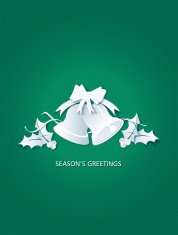 Paper Cut Christmas Bells with Holly Collage on Green