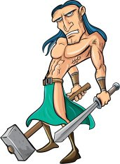 Cartoon barbarian with sword and hammer. Isolated