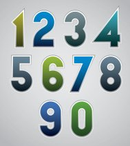 Vector numbers, bold numerals, made in web buttons style.