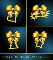 collection of four christmas golden decorations
