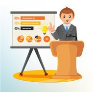 Businessman Making a Presentation. Vector Illustration