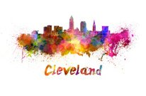 Cleveland skyline in watercolor
