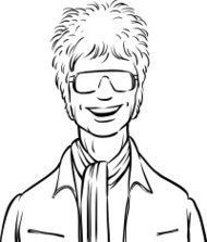 whiteboard drawing - smiling stylish young man in sunglasses