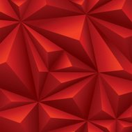 Red polygon background.