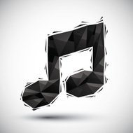 Black musical note geometric icon made in 3d modern style