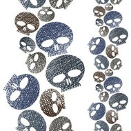Horror and hard rock theme repeating background, Skulls seamless