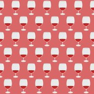 Vintage pattern with red wine glass silhouettes.