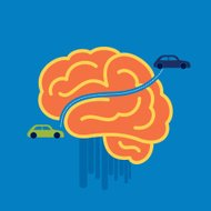 car crossing brain - illustration