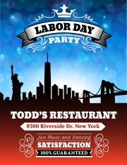 Labor Day Party on City Background