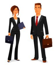 young man and woman in elegant business suit