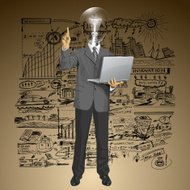Vector Lamp Head Business Man Shows Something With Finger