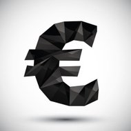 Black euro sign geometric icon made in 3d modern style
