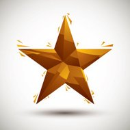 Golden star geometric icon made in 3d modern style