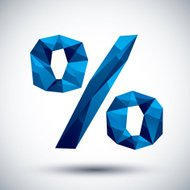 Blue percent geometric icon made in 3d modern style
