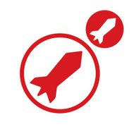 Rocket vector simple single color icon isolated on white