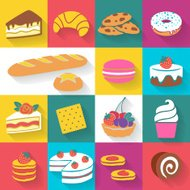 Set of colorful bakery icons in flat style.