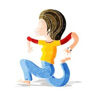 cartoon woman running