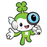Lucky Fairy mascot examine a with a magnifying glass.