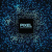 Abstract Pixel Blue - Green Bright Glow Background