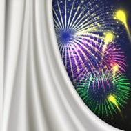 gray curtain with fireworks