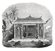 Chinese temple in Macassar, South Africa (antique engraving)