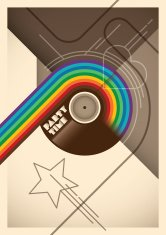 Abstract party poster with rainbow.