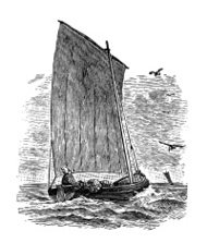 Antique illustration of lug-sail ship