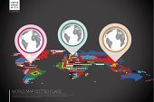 Infographics World map from dots with pointer marks