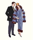 Couple in love. Vintage fashion of 1920s style.